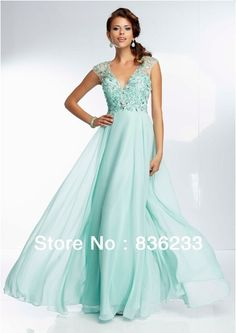 2014 New Stunning Mint A Line V Neck Cap Sleeve Prom Dresses Chiffon Beaded with Open Back Pageant Gown-in Prom Dresses from Apparel & Acces...