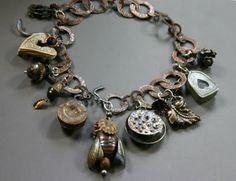 Gail Crosman Moore - bracelet with metal clay charms