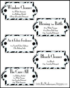 DIY Homemade Cleaning Recipes on a Label~!!!