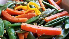 Sesame Carrots & Snow Peas | food.com #Carrots #Snowpeas
