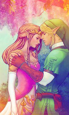 Zelda and Link.