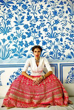 Anita Dongre Gota Patti Embellished Hot Pink #Lehenga.