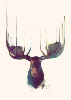 Moose Art Print / Amy Hamilton (via Society6)