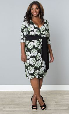 Our plus size Harlow Faux Wrap Dress in a trendy peony print is just what your wardrobe needs.  Flattering and pretty!   www.kiyonna.com  #KiyonnaPlusYou  #Plussize  #MadeintheUSA  #Kiyonna  #Floral