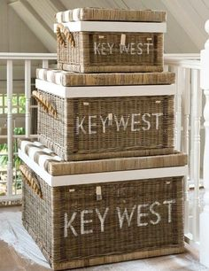 Paint your favorite beach location on wicker baskets! Featured here: http://beachblissliving.com/wicker-baskets-beach-decor/