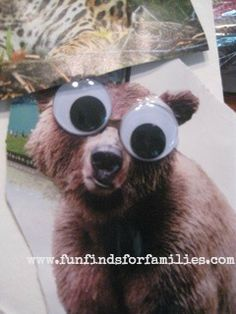 This craft couldn't be any easier - or sillier! My preschoolers loved it!   Easy Crafts for Kids: Googly eyed animal collage  #crafts