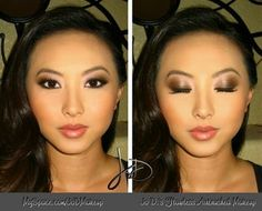 Airbrushed Makeup is Flawless! Gorgeous Brown/Gold/Nude Eyeshadow, Black Liner on Upper Lids and Lower Lash Line, Curled Eyelashes Defined with Mascara, Peach Blush, Pink/Coral Lipstick and Gloss.