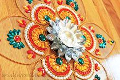Rangoli, floor art - Jumbo Pan-  Red, Yellow, Green, White - set of 7 pieces