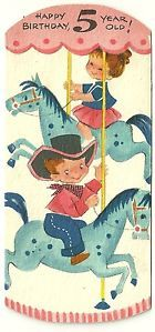 """VINTAGE HAPPY BIRTHDAY CARD """"5 YEAR OLD"""" BY AMERICAN GREETING USED CAROUSEL"""