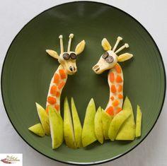 brown bag lunches, banana, kid food, fun food, blueberri, lunch fun, apricot, food art, funfood giraff