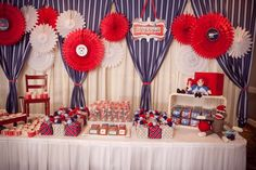 SO CUTE!!  Red, white and blue dessert table! #4thofJuly #dessert #table
