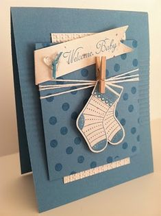 baby boy card- stocking puch