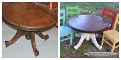 Annie Sloan Chalk Paint™ Victorian Antique Table & 4 Vintage Oak Chairs Repainted. PhantasticPhinds.com