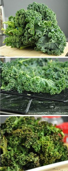 tips and techniques for light + crispy kale chips and a delicious way to season them!  Cooked them for 15 minutes on 350 - crunchy! Pretty good!  ~Leilani