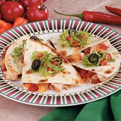 Baked Chicken Quesadillas Recipe  •4 flour tortillas (8 inches)  •1 package (6 ounces) ready-to-use Southwestern chicken strips  •1 can (10 ounces) diced tomatoes and green chilies, well drained  •1 cup (4 ounces) shredded Mexican cheese blend  •Shredded lettuce, sliced ripe olives and chopped tomatoes