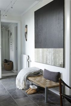 Color blocks grey interiors, entry hallway, entrance art, interior design hallway, entry bench, art for entry, entrance hallway modern, hallways design, hallway art