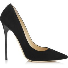 Jimmy Choo Anouk Black Suede Pointy Toe Pumps found on Polyvore
