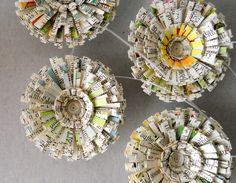 recycled paper ornaments, garland or package toppers