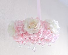 Pink Flower Chandelier Mobile for Baby Shabby Chic by OohLaLaBabe, $130.00