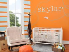 Contemporary Orange, Blue and White Baby Nursery - on HGTV