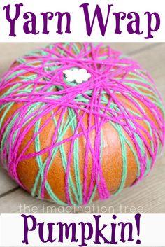 Yarn and Ribbon Wrapped Pumpkins!