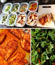Meal Prep Ideas // cajun seasoned chicken, assorted vegetables and kale salad --> snacks include hard boiled eggs, apples, turkey jerky and almonds #paleo #healthy #prepday