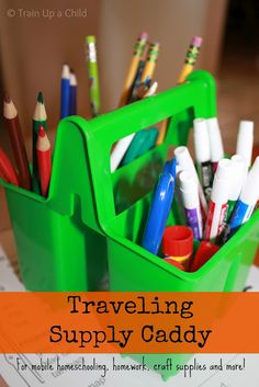 The Traveling Caddy - a simple way to gather your most used supplies for mobile homeschooling, homework, crafting and more!