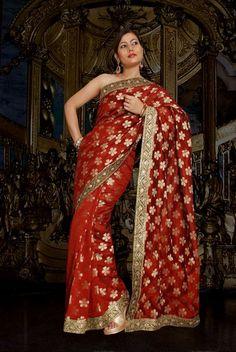 Banarasi Chanderi Saree With Brocade Blouse.