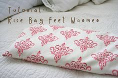 bag with cover; rice, wheat, lavender, peppermint......section inside bag by stitching pockets for filler......heat 2 minutes.......attach hang tag.... V and Co.: tutorial::rice bag feet warmer