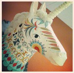 unicorn paper mache head   by Sarah Walsh
