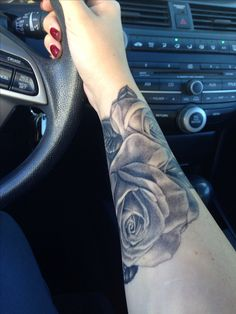 Black and grey rose tattoo, cover up done by Jamie lee parker at MD tattoo studio