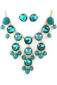 Water Blue Bubble Necklace Set