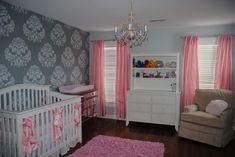 pink gray girl's nursery