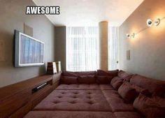 Indoor comfy movie room