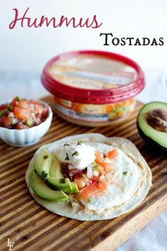 This hummus tostada recipe is super easy to make & quick to put together