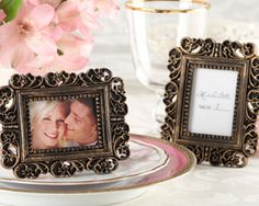 """Ornate"" Antique Gold Place Card Holder/Photo Frame at www.WeddingFavors.org"