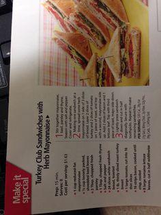Turkey club sandwich with herb mayonnaise herb mayonnais, club sandwich