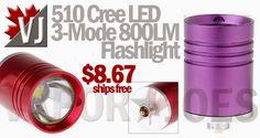 510 Cree 3-Mode 800-Lumen LED Flashlight Heads