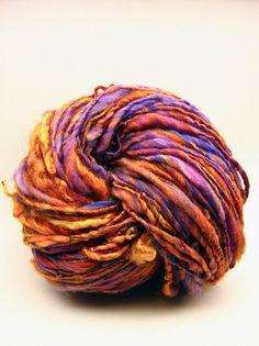 Bulky handspun yarn in hand dyed merino wool with Lincoln locks - 150 yards, 4.9 ounces