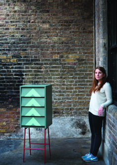 Charlotte's Beehive Drawers painted in Green Smoke with graphic in Arsenic by Farrow & Ball. Click to see a 'how to' guide!