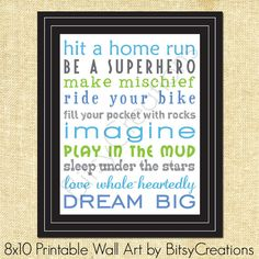 BOY Subway Art Printable Wall Art by by BitsyCreations on Etsy, $5.00