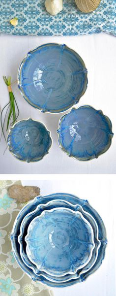 Nesting Bowl set in Dusk Blue from Lee Wolfe Pottery
