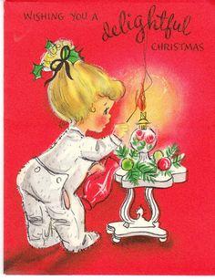pajamas, christma card, christmas cards, little girls, footi pajama, vintag christma, vintage christmas, christmaspictur, christma pictur
