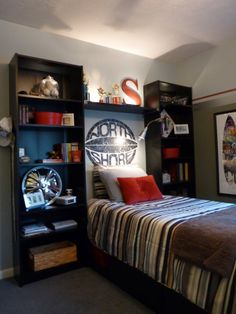 Cool Teen Bedroom This is awesome and easy to make plus look at the storage you get...What a great idea, My oldest will love it.  Thirft find shelves for $5 and board at Menards for $6 a lamp and decor...WOW!