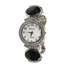 Shyanne® Women's Black Stone Link Watch