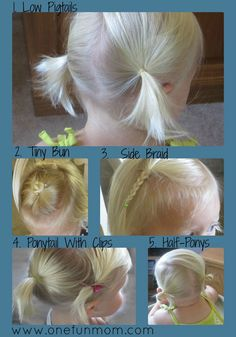 How-To hair styles for toddler girls (be sure to check out pg 1 & 3 on site too.)...... I wonder If this tells you how to get your daughter to leave the ponytails alone?? Lol!