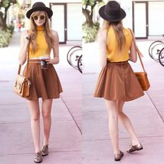 midi skirts, style, circle skirts, crop tops, leather skirts, color, fashion outfits, summer outfits, mustard yellow
