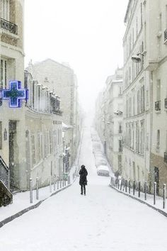 Snowy Day, Rue Berthe, Montmartre, Paris | Most Beautiful Pages