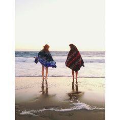 Pendleton towels on the beach.