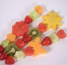 Kids fruit kabobs.